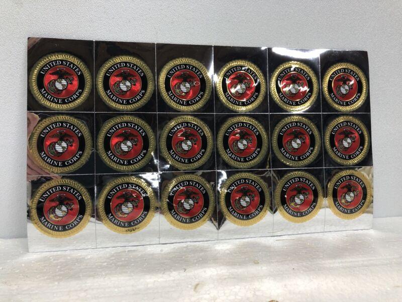 "United States Marine Corps USMC 1 3/4"" Round Foil Sticker 18 Stickers Per Sheet!"