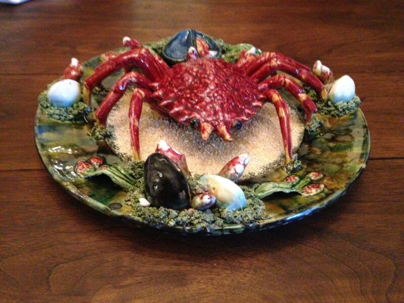 "Majolica Palisyware ""Crab"" Charger Plate - Alvaro Jose Caldas O Raznha, Portugal"