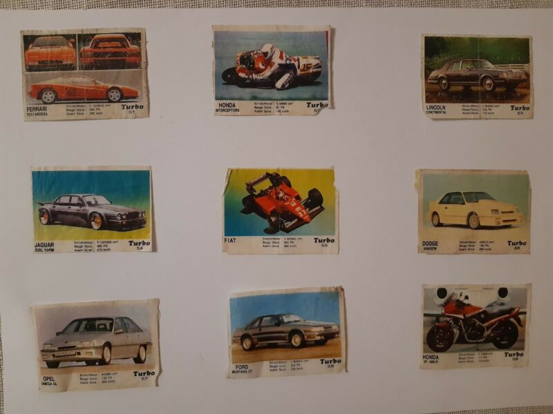 Vintage Bubble Chewing Gum  wrappers Turbo  51-120  Second serie  full  set  .
