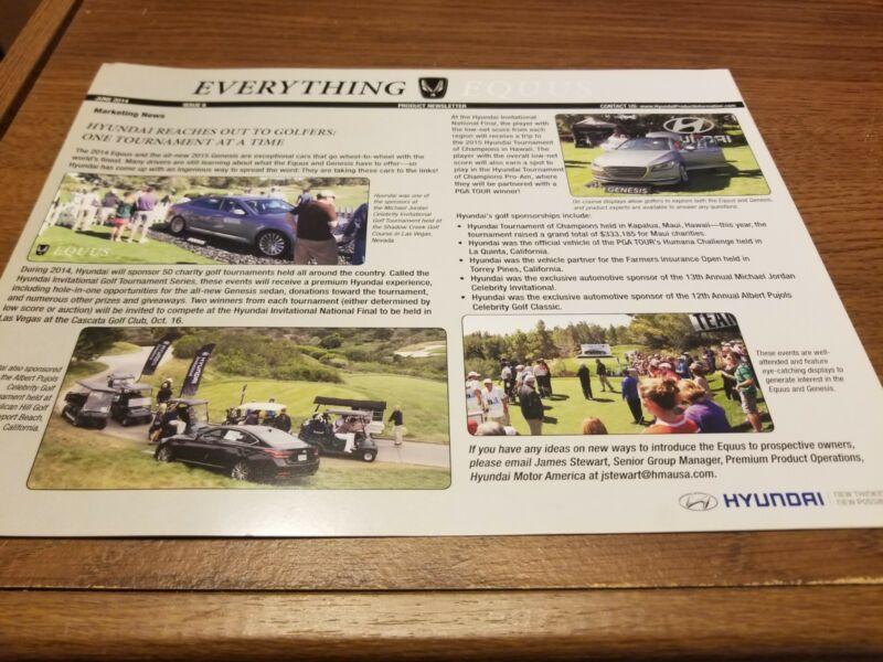 2014 Hyundai Equus June 2014 Issue 6 Newsletter Everything Equus RARE HTF Great