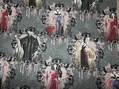 Disney Quilt Fabric Maleficent Cruella Female Villains Fat Quarter, By the Yard (Female Disney Villains)