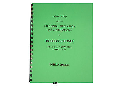 Bardons Oliver No.s 3 5 7 Turret Lathe Operator Maintenance Manual 632