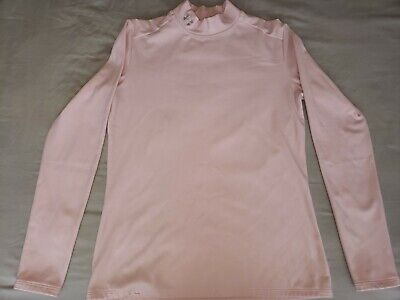 UNDER ARMOUR Cold Gear Womens Fitted Long Sleeve Mock Neck Top Pink Sz Large