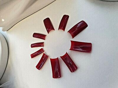 500 French Tips Oval Bordeaurot Weinrot Tips Nagel Tips Künstliche Fingernägel