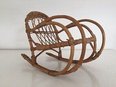 Vintage Wicker Willow Woven Dolls Bear Rocking Chair
