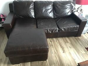 LEATHER 3 SEATER CHAISE LOUNGE WITH SOFABED Chatswood Willoughby Area Preview