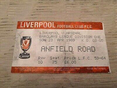 RARE Ticket Liverpool Arsenal 23 04 1989 Title Decider