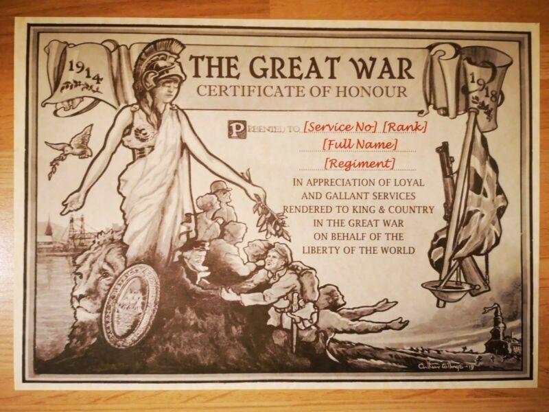 World War One Certificate of Honour - WWI Custom Scroll