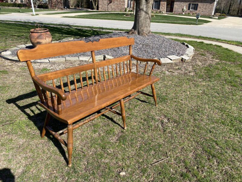 Ethan Allen Heirloom Maple Nutmeg Large Deacons Bench