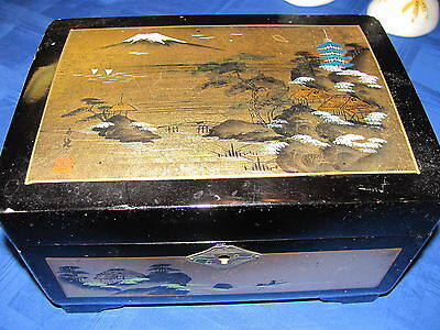 Vintage Black Lacquer Jewelry Box - Japanese - Musical - Mt Fuji - Gold