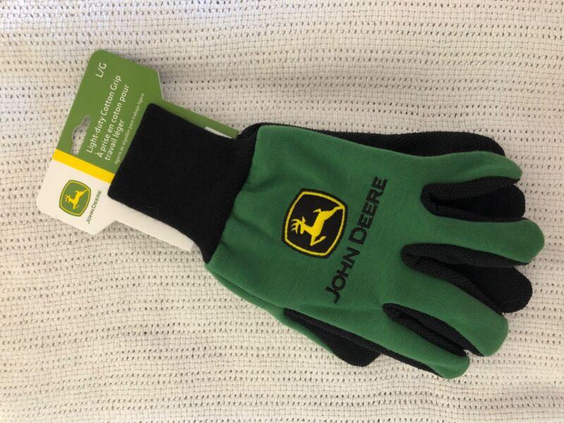 John Deere Light Duty Cotton Grip Gloves - Adult Size L/G - LP42385 - 2 pairs!!