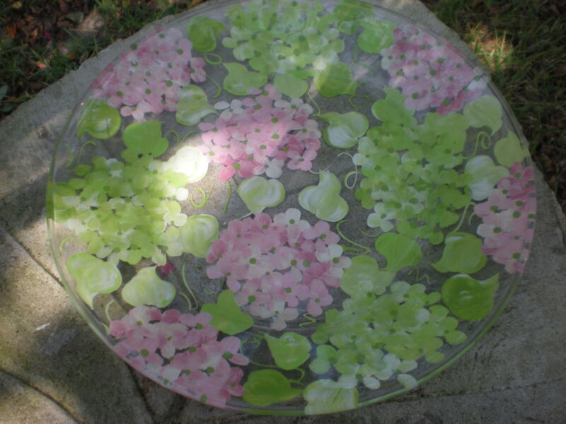 "HAND PAINTED PINK AND GREEN HYDRANGEAS IN SOFT SHADES.. 13"" PLATTER"