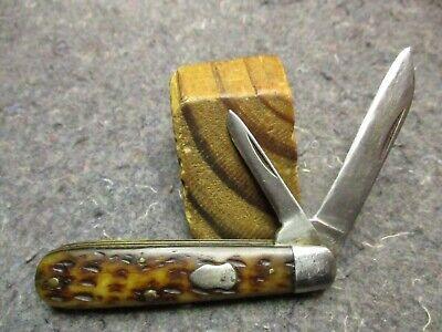 VINTAGE 2 BL POCKET KNIFE/CATTARAUGUS CUTLERY CO. 21489/BROWN BONE/SCARCE KNIFE