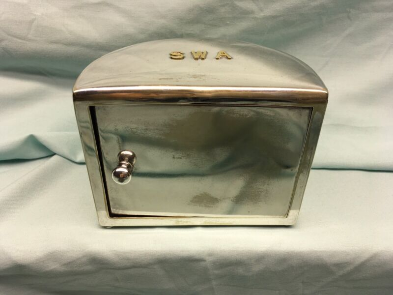Antique C-1900 Revolving Cigarette Box Cross London Silverplate