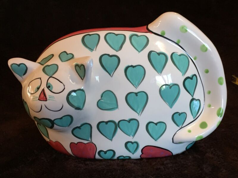 "Cat Bank ""Heartly"" Bella Casa By Gantz Signed by Pati Green Hand Painted Hearts"