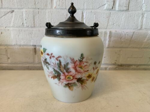 Antique AJ Hall Meriden Biscuit Jar with Floral Decorations