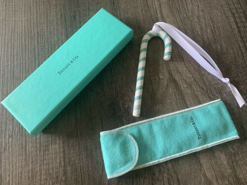 Tiffany Christmas Holiday BLUE CANDY CANE Ornament w/ Box Pouch NEW