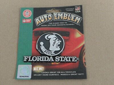 Florida State Seminoles - Silver Chrome Colored Auto Emblem Raised Decal (New)