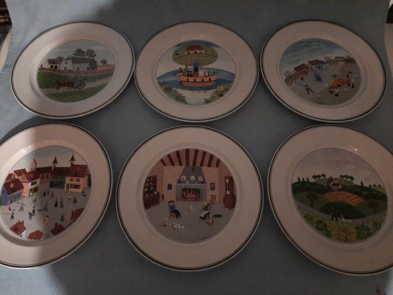 Villeroy & Boch Design Naif 6 different Dinner Plates Laplau 1,2,3,4,5,6 Ex Cond