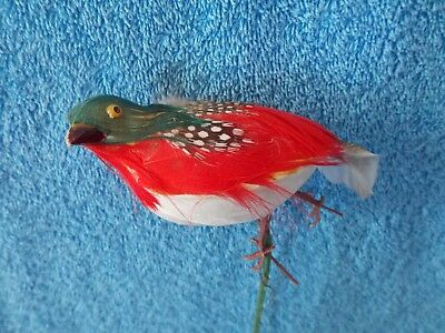 Vintage Feathered Red Bird  Floral Pick Christmas Decoration