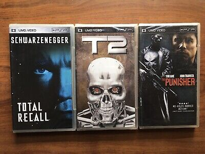 Lot of 3 sealed UMD video movies for PSP Terminator 2 Total Recall Punisher NEW