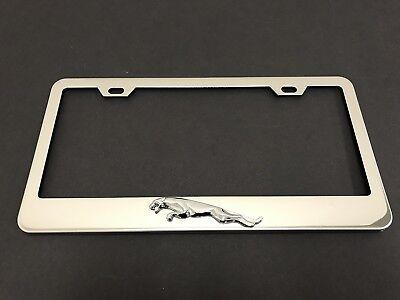 1pc 3D JaguarLEAPER LOGO Stainless Steel Chrome Metal License Plate Frame