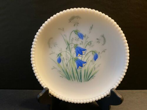 Vtg Westmoreland Milk Glass Plate Hand Painted Floral Beaded Edge