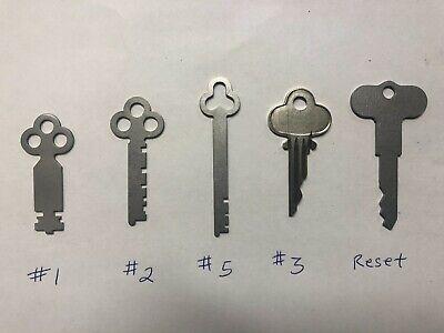 National Cash Register Keys 1, 2, 3, 5, Reset Key Fits 300/700 Class NCR