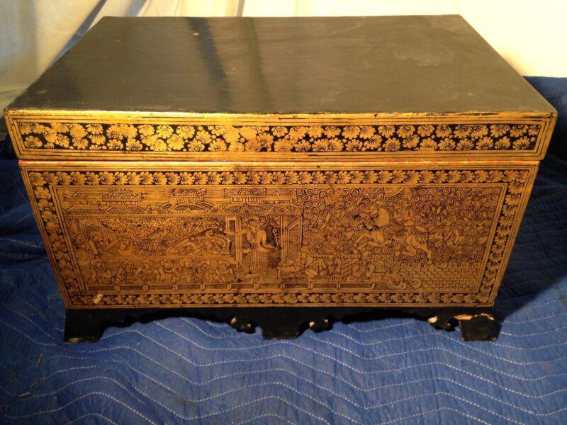 Antique Burmese Gold Lacquerware box