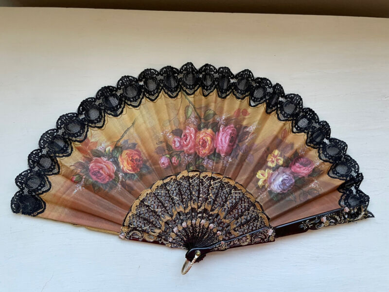 Artist Signed Vintage Asian Lace Spanish Fan HandPainted Flowers Abanico Japanes