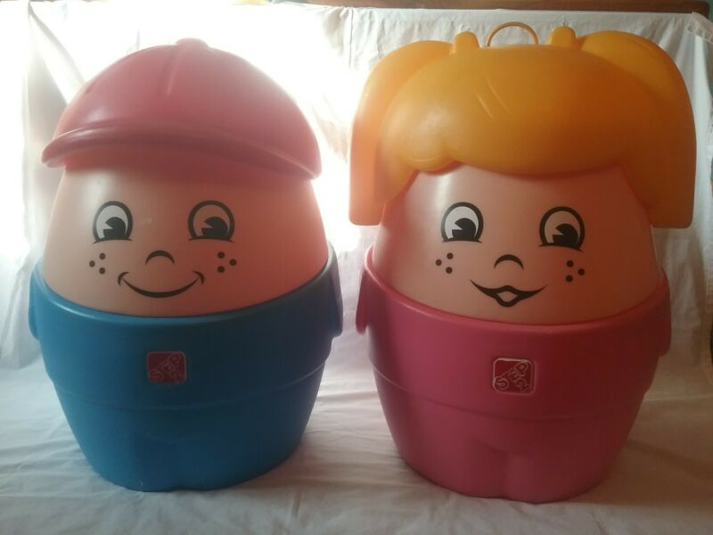 Lot of 2 little tikes, step 2 chunky little people toy box chest, storage box,