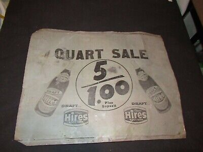 HIRES ROOT BEER QUART SALE TIN METAL SIGN VINTAGE ADVERTISING 5 FOR $1.00