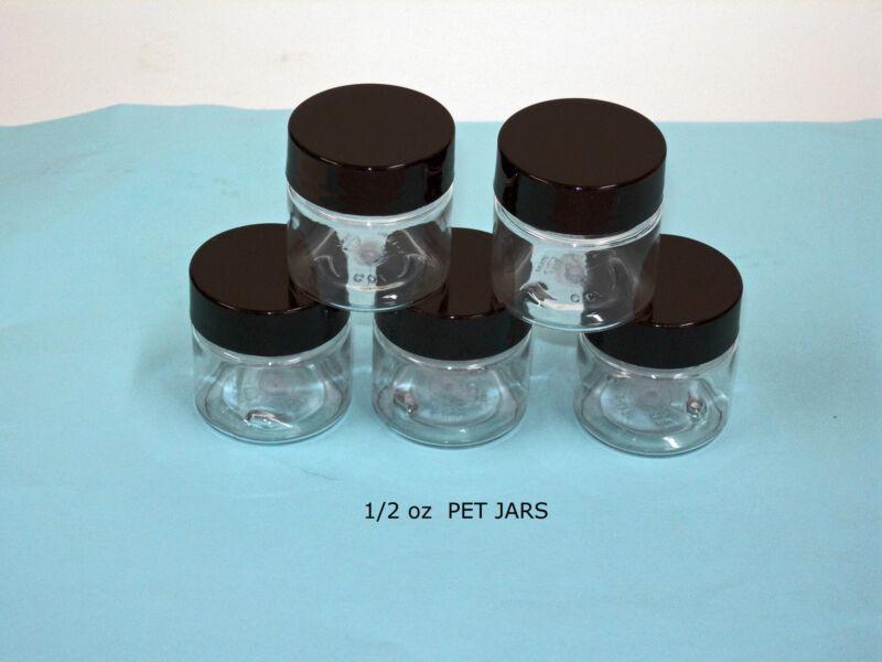.5 oz PET Plastic Clear Jars Small Size  with Cap, U  Pick Color & Qty Lot