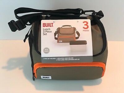 Built Ny Lunch Boxes - Built NY Prime Lunch Bag with Food Container Olive/Orange NWT