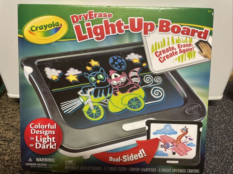 Crayola Dry Erase Light Up Board Drawing Coloring Tablet Light Up Duel Sided NEW