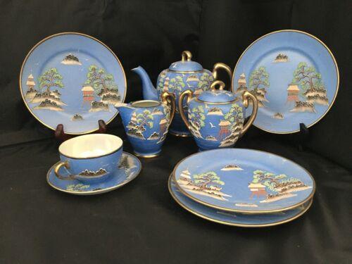 Vintage Japanese Tea Set Hand Painted Raised Moriage Design
