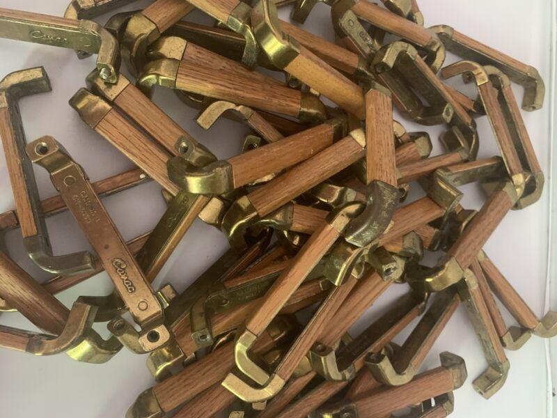 Canac Wood Brass Drawer Pulls Huge Lot Of 84 Handles Vintage Reclaimed