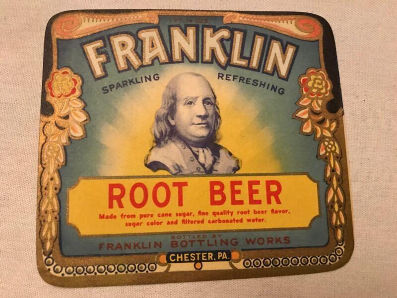 FRANKLIN BOTTLING WORKS VINTAGE ROOT BEER BOTTLE LABEL, CHESTER, PA.