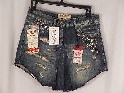 Womens Size 0 Skirt PARASUCO Blue Mini Denim Distressed NEW