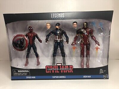 Marvel Legends Civil War 3 Pack Spiderman, Ironman, Captain America New