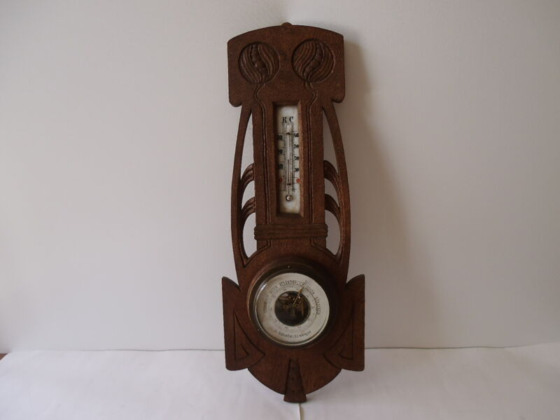 """ANTIQUE GERMAN ART NOUVEAU 17"""" WALL BAROMETER & THERMOMETER"""