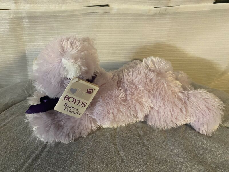 Boyds Bears and Friends Taffy Cuddle Fluff Stuffed Plush Purple Kitty Cat Kitten