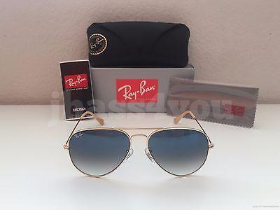 Ray-Ban Aviator Sunglasses RB3025 001/3F Light Blue Gradient/Gold Frame 58-14mm