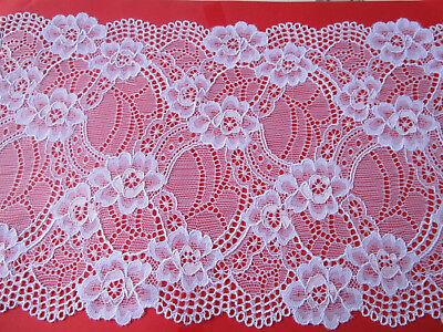 White Border Trim (Elegant White elastic Lace Trim 18cm wide Border great offer #52 ENg)