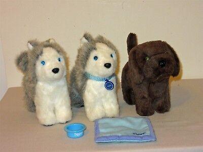 American Girl Doll Pet Dog Lot Chocolate Chip & 2 Pepper collar bowl bedding