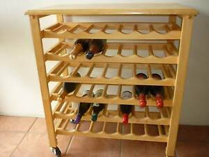 Wooden Wine Trolley Serving Side Table with 42 Bottle Capacity Prospect Launceston Area Preview