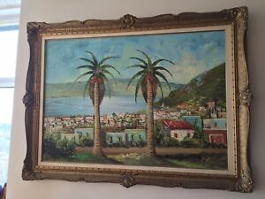 Large palm trees oil painting