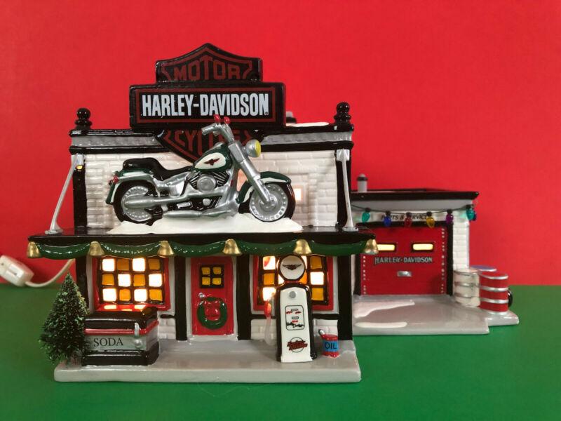 Department 56 Snow Village Harley Davidson Motorcycle Shop #54886 1997