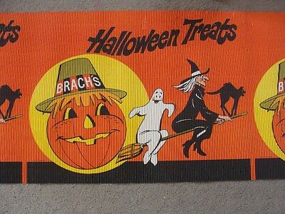 Vintage Brach's Halloween Candy Store Sign Banner Display 1977 Witch Cat 24x121