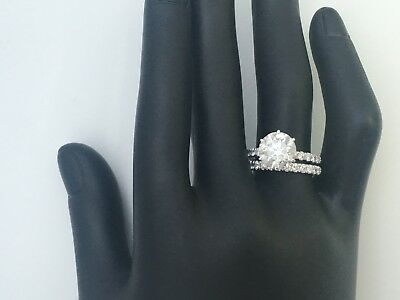 2.25 CT DIAMOND RING WITH MATCHING BAND SET 6 PRONG NATURAL 14 K WHITE GOLD -